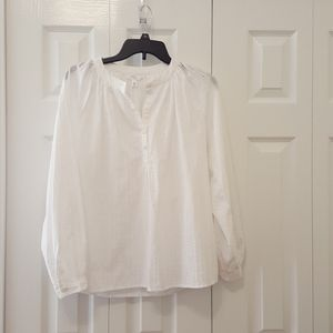 White cotton eyelet henley neck top long sleeves S